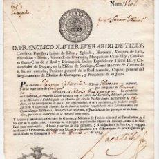 Militaria: LICENCIA TRAS SERVIR EN NAVIO DE GUERRA -FIRMA ORIGINAL FRANCISCO EVERARDO DE TILLY - CARTAGENA 1790. Lote 96543343