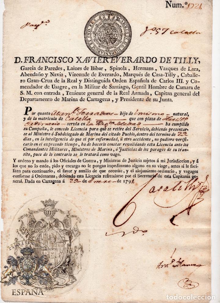 LICENCIA TRAS SERVIR EN LA FRAGATA SOLEDAD -FIRMA ORIG. FRANCISCO EVERARDO DE TILLY - CARTAGENA 1791 (Militar - Propaganda y Documentos)