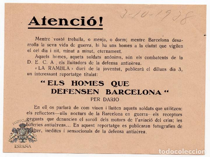 PROPAGANDA REPUBLICANA - GUERRA CIVIL - ELS HOME QUE DEFENSEN BARCELONA (Militar - Propaganda y Documentos)
