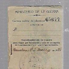 Militaria: GUERRA CIVIL MINISTERIO DE LA GUERRA BARCELONA. 1938. TALONARIO 50 VALES PARA VIAJAR POR FERROCARRIL. Lote 96582347