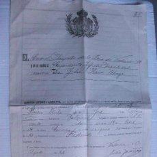 Militaria: DOCUMENTO MILITAR DE LICENCIA ABSOLUTA. VALENCIA, 1909. Lote 97049343
