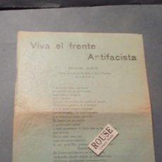 Militaria: GUERRA CIVIL - PANFLETO CON MUSICA - VIVA EL FRENTE ANTIFACISTA - VIVA EL PROLETARIADO ESPAÑOL - VIV. Lote 97067979