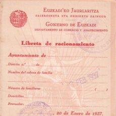 Militaria: 4 LIBRETAS DE RACIONAMIENTO GOBIERNO DE EUSKADI - AYUNTAMIENTO DE RIGOITIA. Lote 97699987
