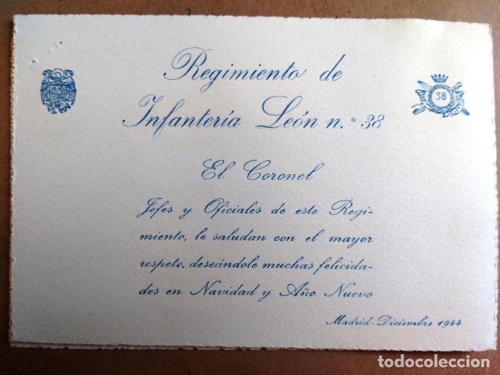 FELICITACION DEL CORONEL REGIMIENTO INFANTERIA DE LEON, AÑO 1944 (Militar - Propaganda y Documentos)