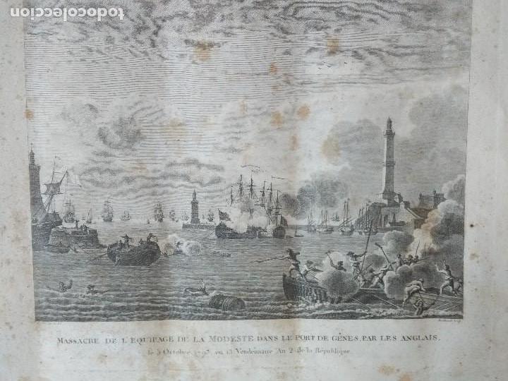 Militaria: 1793 GRABADO MASACRE DE LA TRIPULACION DE LA MODESTE PORT DE GENES PAR LES ANGLAIS FRANCIA - Foto 2 - 97878847
