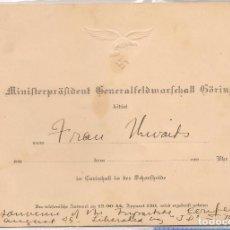 Militaria: INVITACIÓN DEL GENERALFELDMARSCHALL HERMANN GÖRING EN CARINHALL. Lote 98079119