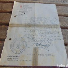 Militaria: DOCUMENTO DE FALANGE O SIMILAR DELEGACION DE LA VIEJA GUARDIA AÑO 1942. Lote 98346987