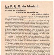 Militaria: CARTEL - F.U.E. MADRID - FEDERACIÓN UNIVERSITARIA ESCOLAR - POR LA REFORMA DE LA UNIVERSIDAD. Lote 98764135
