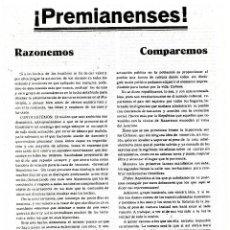 Militaria: PROPAGANDA. GUERRA CIVIL. REPUBLICA. PREMIANENSES. Lote 98808723