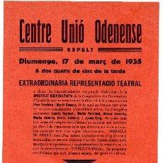 Militaria: CARTEL PROPAGANDA. REPUBLICA. MURALLA DE FERRO 1935. CENTRE UNIÓ ODENENSE. Lote 98810239