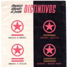 Militaria: CARTEL PROPAGANDA DISTINTIVOS COMISARIOS DELEGADOS DE GUERRA - REPÚBLICA. Lote 98972667