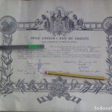 Militaria: DIPLOMA EN NOMBRE DEL REY DE CONCESION INSIGNIAS COMENDADOR DE LA ORDEN DE AFRICA , 1976. Lote 99154615
