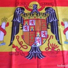 Militaria: BANDERA DE ESPAÑA CON AGUILA DE SAN JUAN. ESCUDO DE EPOCA FRANQUISTA MODELO 1945. ANILLAS PARA IZADO. Lote 99577195