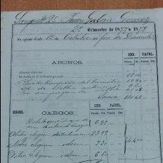 Militaria: DOCUMENTO MILITAR. ABONOS DE 2º TRIMESTRE 1877-1878.. Lote 99746263