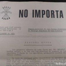 Militaria: NO IMPORTA . ORGANO NACIONAL DE LAS JUNTAS PROMOTORAS DE FALANGE ESPAÑOLA DE LAS J.O.N.S. AÑO 1971. Lote 100072643