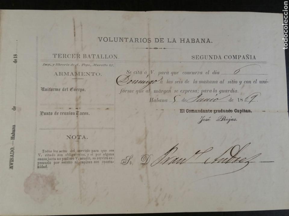 1869 CITACIÓN DE LOS VOLUNTARIOS DE LA HABANA TERCER BATALLÓN (Militar - Propaganda y Documentos)