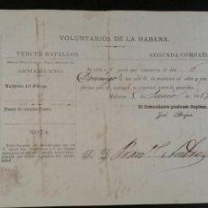 Militaria: 1869 CITACIÓN DE LOS VOLUNTARIOS DE LA HABANA TERCER BATALLÓN. Lote 100119274