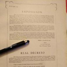 Militaria: HOJA LAMINA MILITAR - LEGION - LEGIONARIOS . ORDEN EXPOSICION .. REAL DECRETO .... Lote 100752787