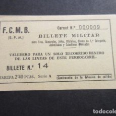 Militaria: BILLETE MILITAR F.C.M.B. FERROCARRIL METROPOLITANO METRO BARCELONA GENERALES CABALLEROS MUTILADOS.... Lote 178889606
