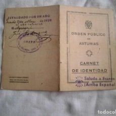 Militaria: ORDEN PUBLICO DE ASTURIAS.CARNET DE IDENTIDAD.GRADO 1938. Lote 101638031