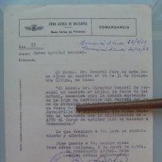 Militaria: AVIACION : ZONA AEREA BALEARES, NOTIFICACION APTO ASCCENSO COMANDANTE. POLLENSA 1964.. Lote 102070711