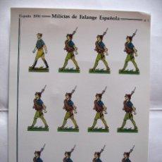 Militaria: LAMINA RECORTABLE, MILICIAS DE FALANGE, ESPAÑA 1936. Lote 102648799