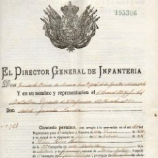 Militaria: DON FERNANDO PRIMO DE RIVERA COMANDANTE JENERAL EJERCITOS NACIONALES CONCEDE PERMISO 1886. Lote 102762623