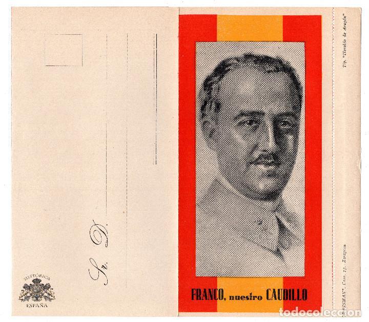 SOBRE SIN ESTRENAR CON BUSTO DE FRANCISCO FRANCO - AÑOS 40 . REGIST. GRASSMAN. ZARAGOZA (Militar - Propaganda y Documentos)