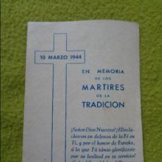 Militaria: EN MEMORIA DE LOS MARTIRES DE LA TRADICION - MARZO 1944 - CARLOS VII Y CARLOS VIII - CARLISMO. Lote 103073639