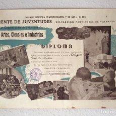 Militaria: DIPLOMA FALANGE FET Y JONS.FRENTE JUVENTUDES.OJE. PRIMERA EXPOSICIÓN PROVINCIAL.SUECA.VALENCIA 1941. Lote 103365111