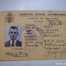 Militaria: CARNET SINDICATO ESPAÑOL UNIVERSITARIO SEU. Lote 103589623
