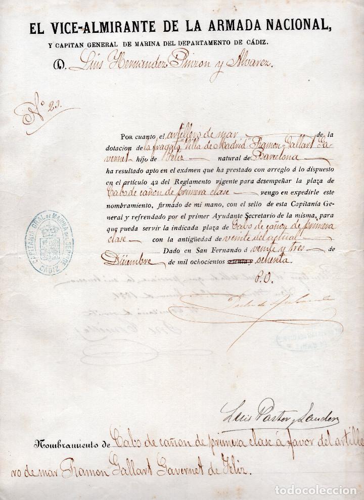NOMBRAMIENTO CABO DE CAÑON DE PRIMERA CLASE 1870 - CÁDIZ (Militar - Propaganda y Documentos)