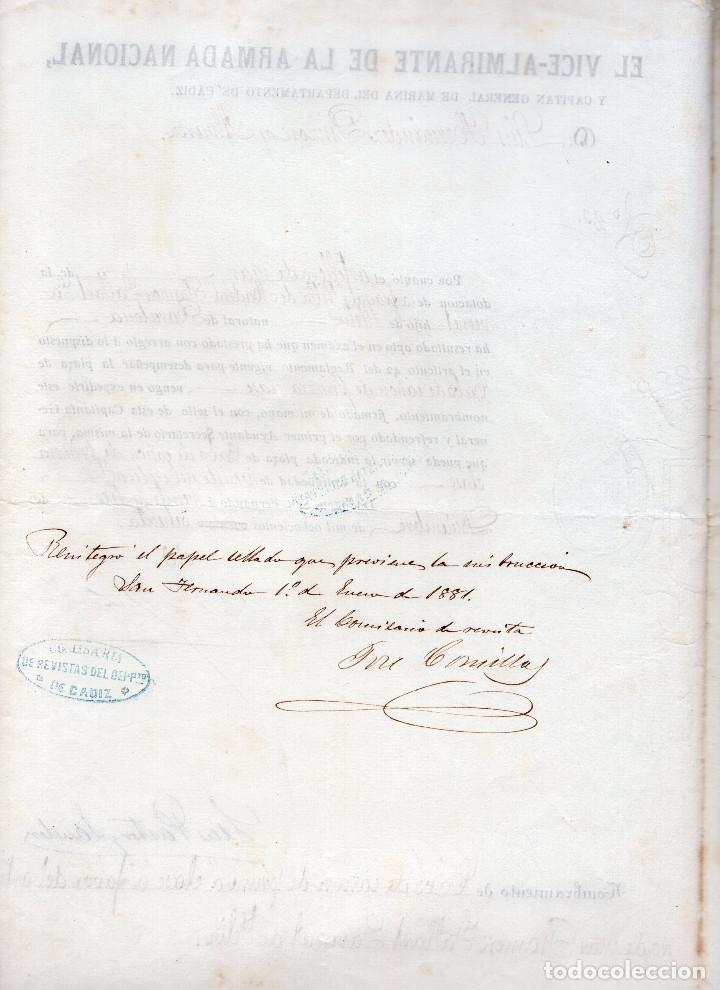 Militaria: NOMBRAMIENTO CABO DE CAÑON DE PRIMERA CLASE 1870 - CÁDIZ - Foto 2 - 103789795