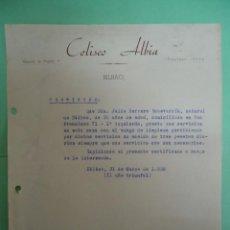 Militaria: DOCUMENTO CON MEMBRETE DEL COLISEO ALBIA HACIENDO UN CERTIFICADO . AÑO 1938. II AÑO TRIUNFAL. Lote 103908067