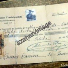 Militaria: CARLISMO, MADRID,1935, RECIBO, SELLO SOCORRO BLANCO Y ZUMALACARREGUI, RARISIMO. Lote 104277595