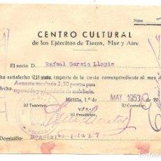 Militaria: RECIBO DEL CENTRO CULTURAL DE LOS EJÉRCITOS DE TIERRA, MAR Y AIRE - MELILLA MAYO 1953. Lote 105455767
