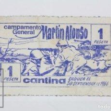 Militaria: ANTIGUO PAPEL MONEDA MILITAR ? - 1 PESETA. CAMPAMENTO GENERAL MARTÍN ALONSO. CANTINA, 1966 - RAREZA. Lote 105986443