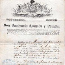 Militaria: CERTIFICADO DE INGRESO COMO VOLUNTARIO EN CUBA EN EL 1ER BATALLÓN DE ARTILLERÍA. HABANA 1890. Lote 106583847