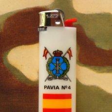 Militaria: MECHERO REGIMIENTO ACORAZADO PAVÍA Nº 4 - AÑOS 70, BIC RECARGABLE, ORIGINAL. Lote 106809255