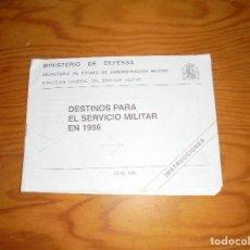 Militaria: DESTINOS PARA EL SERVICIO MILITAR EN 1996, JULIO 1995. MINISTERIO DE DEFENSA. Lote 106905163