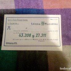 Militaria: DÉCIMO DE LOTERÍA DE NAVIDAD AÑO 1947 REGULARES 5. Lote 107857739