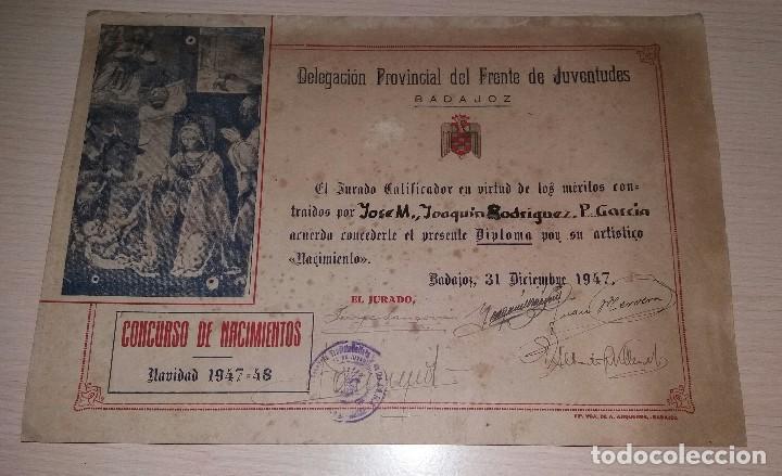 DIPLOMA FRENTE DE JUVENTUDES DE BADAJOZ, CONCURSO DE NACIMIENTOS, AÑO 1947 (Militar - Propaganda y Documentos)