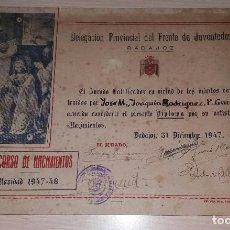 Militaria: DIPLOMA FRENTE DE JUVENTUDES DE BADAJOZ, CONCURSO DE NACIMIENTOS, AÑO 1947. Lote 108463163