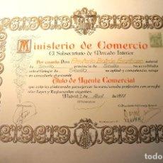 Militaria: CURIOSO TITULO DE AGENTE COMERCIAL ESCUDO FRANQUISTA UNA GRAN DE LIBRE..... AÑO 1977. Lote 108655539