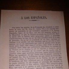 Militaria: PROCLAMA BANDO CARLISTA CARLOS VII CIRCA 1870 A LOS ESPAÑOLES. Lote 109019371