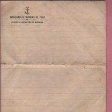 Militaria: DOCUMENTO MILITAR - CARTA CON SU SOBRE SIN CIRCULAR DEPARTAMENTO MARTIMO DE CADIZ. Lote 109454727