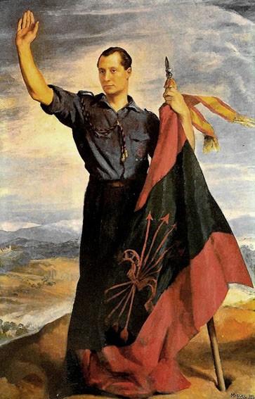 CUADRO JOSE ANTONIO PRIMO DE RIVERA. FALANGE 1936.BANDO NACIONAL GUERRA CIVIL. 40X25 CM (Militar - Propaganda y Documentos)
