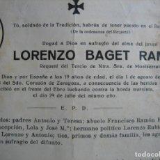 Militaria: RECORDATORIO REQUETE TERCIO DE MONTSERRAT. BATALLA DEL EBRO 1 DE AGOSTO 1938. Lote 110148879