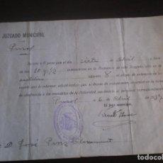 Militaria: DOCUMENTO GUERRA CIVIL, JUZGADO MUNICIPAL PUZOL, CON SELLO CONSEJO MUNICIPAL PUZOL, 1937. Lote 110242975