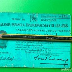 Militaria: CARNET FALANGE ESPAÑOLA TRADICIONALISTA Y DE LAS JONS - MADRID 1940. Lote 110400103